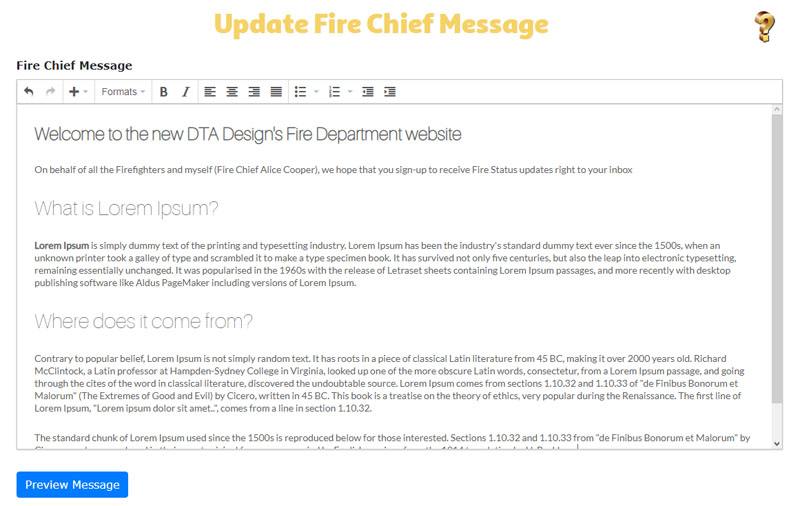 Fire Chief Message Screen