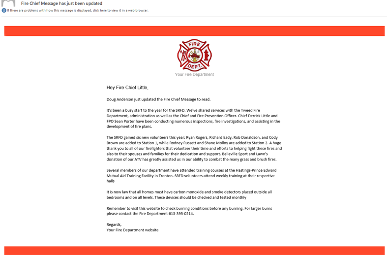 Update Fire Chief message email