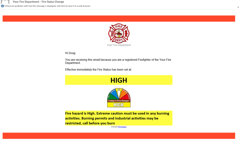 Firefighter Fire Status email