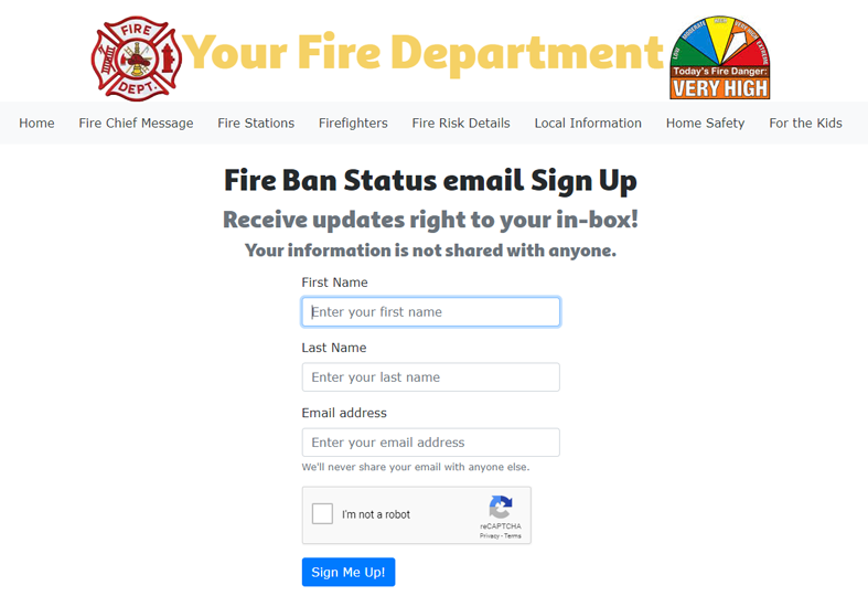 Fire Status sign-up screen