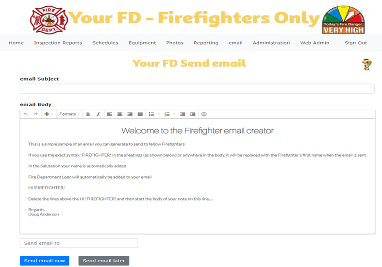 Firefighter email creator screen