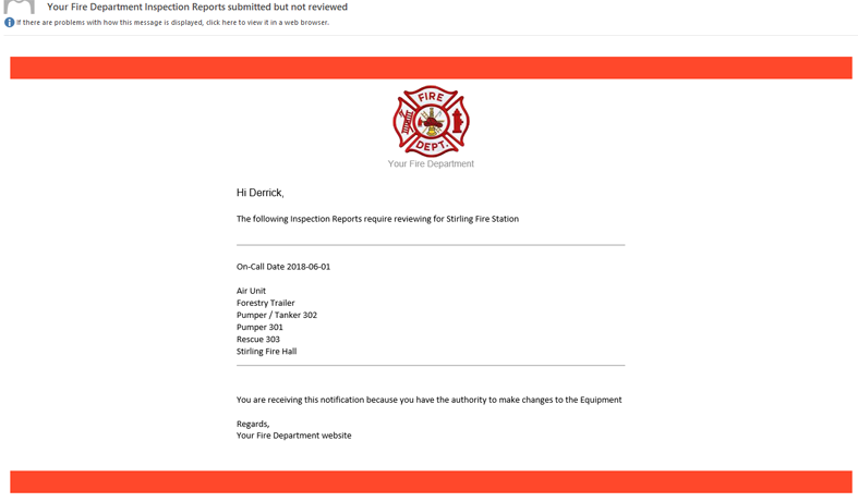 Outstanding Inspection Reports email