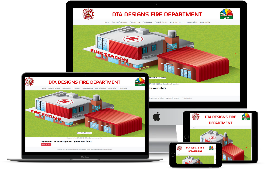 Various screen devices showing screen shots of the Fire Department Template